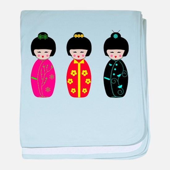 Kokeshi Dolls baby blanket