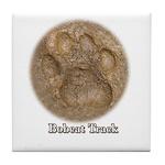 Real Bobcat Pawprint Tile Coaster