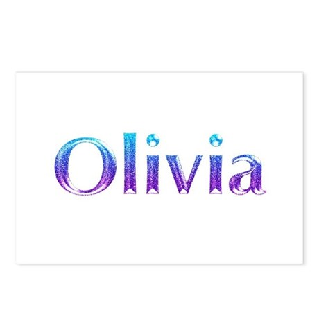 glitter name olivia postcards package of 8 by snatchit