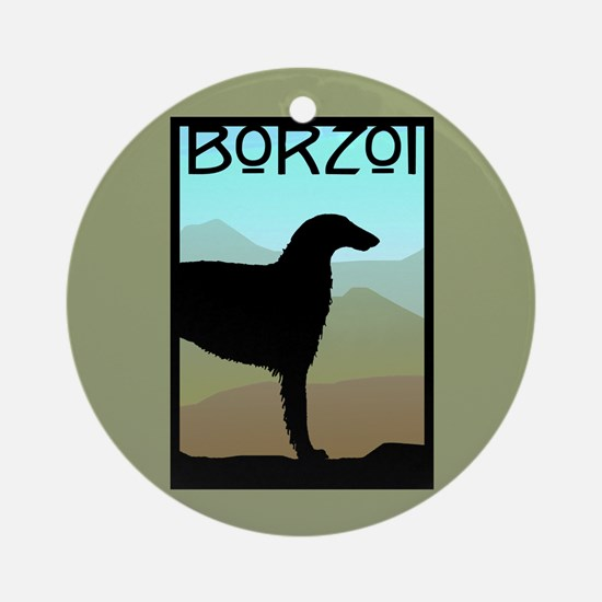 Craftsman Borzoi Round Ornament