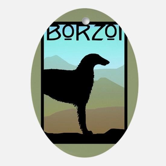 Craftsman Borzoi Oval Ornament