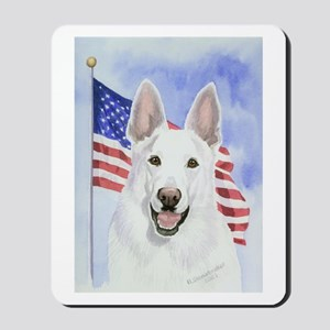 Patriotic White German Shepherd Mousepad