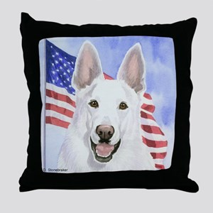 White German Shepherd/Flag Throw Pillow