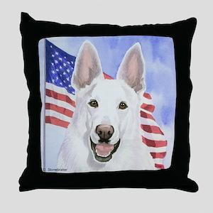 White German Shepherd/Flag Throw Pillow