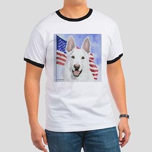 White German Shepherd/Flag Ringer T