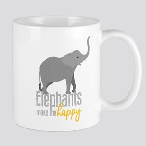 Elephants Make Me Happy 11 oz Ceramic Mug