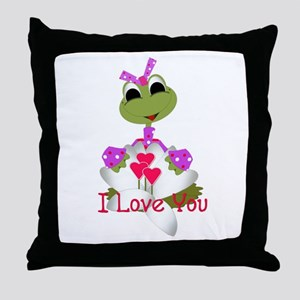 I Love You - Cute Frog Throw Pillow