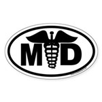 MD oval sticker with large Caduseus in the middle