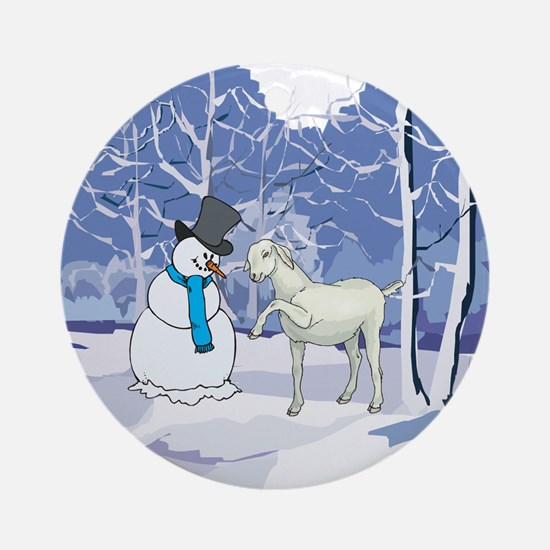 Snowman & Goat Christmas Ornament (Round)