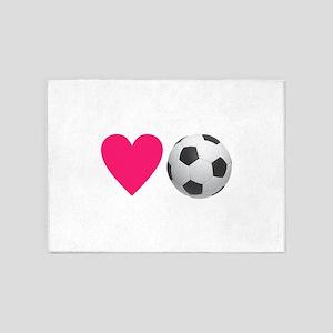 Heart Soccer 5'x7'Area Rug