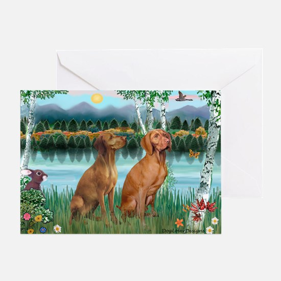 Birches / Vizsla pair Greeting Card