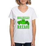HillBillyHotRod GRN Women's V-Neck T-Shirt