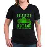 HillBillyHotRod GRN Women's V-Neck Dark T-Shirt