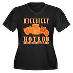 HillBilly HotRod Women's Plus Size V-Neck Dark T-S
