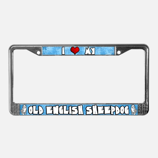 Crtn Love Old English Sheepdog License Plate Frame