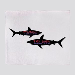 Tikehau French Polynesia Sharks Throw Blanket