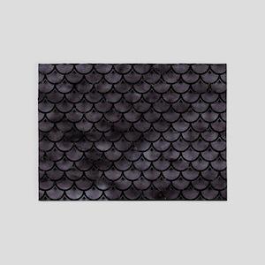 SCALES3 BLACK MARBLE & BLACK WATERC 5'x7'Area Rug