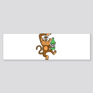 Funny Monkey Drinking Beer Bumper Sticker