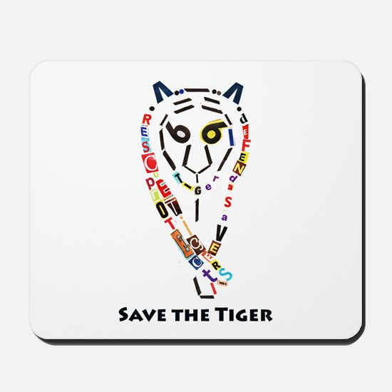 Tiger Text Art Mousepad