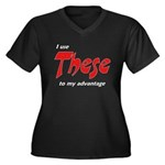 These Women's Plus Size V-Neck Dark T-Shirt