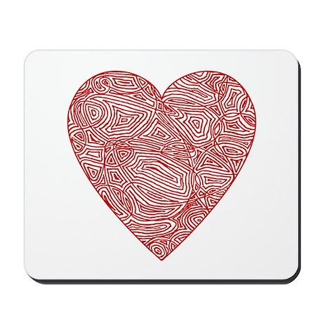 Red Scribbleprint Heart Mousepad