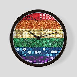 sequin pride flag Wall Clock