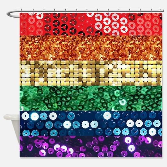 sequin pride flag Shower Curtain