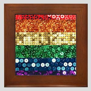 sequin pride flag Framed Tile