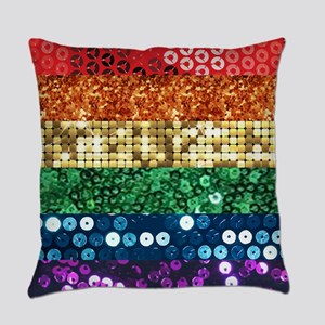 sequin pride flag Everyday Pillow