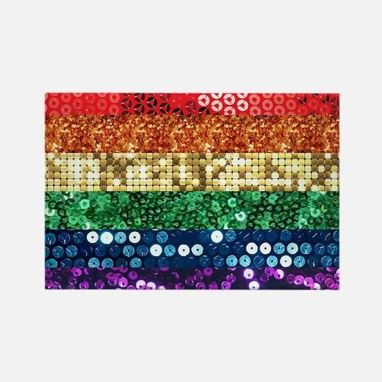sequin pride flag Magnets