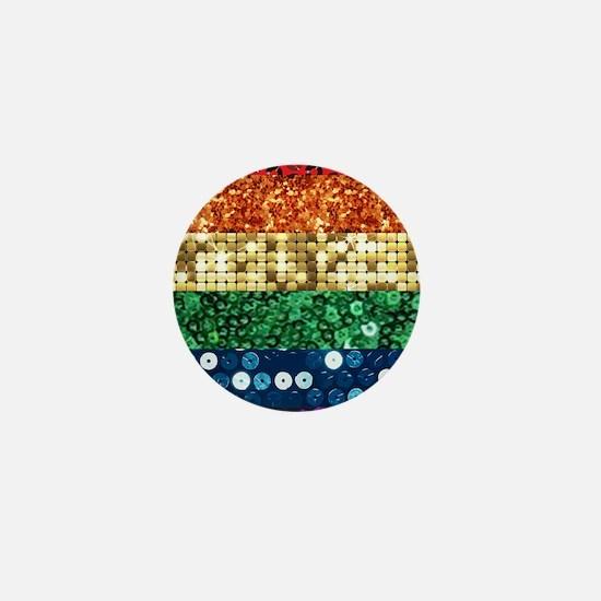 sequin pride flag Mini Button
