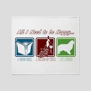 Book, Wine, Australian Shepherd Throw Blanket