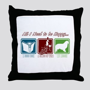 Book, Wine, Australian Shepherd Throw Pillow