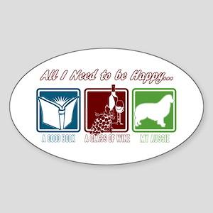 Book, Wine, Australian Shepherd Sticker (Oval)