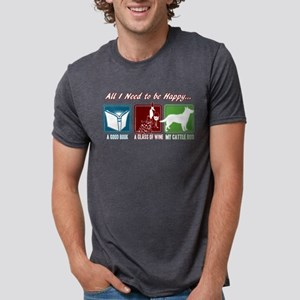 Book, Wine, Cattle Dog Mens Tri-blend T-Shirt