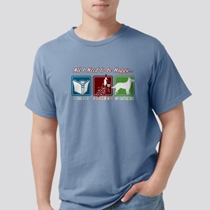 Book, Wine, Cattle Dog Mens Comfort Colors Shirt