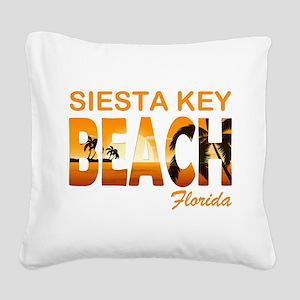 Florida - Siesta Key Beach Square Canvas Pillow