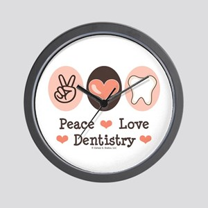 Peace Love Dentistry Dentist Wall Clock
