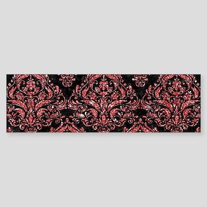 DAMASK1 BLACK MARBLE & RED GLITTE Sticker (Bumper)