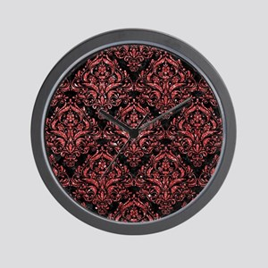 DAMASK1 BLACK MARBLE & RED GLITTER (R) Wall Clock