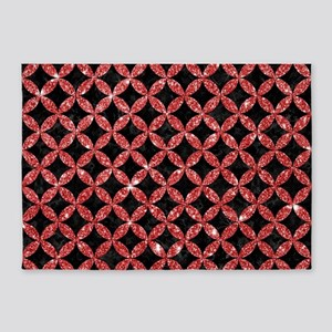 CIRCLES3 BLACK MARBLE & RED GLITTER 5'x7'Area Rug