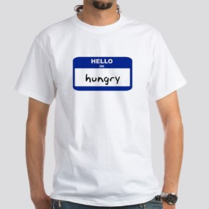 Hello, I'm Hungry (large tag) - White T-Shirt