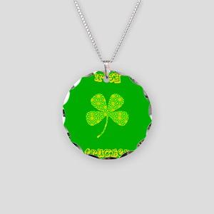 Irish Trucker Green Four Lea Necklace Circle Charm