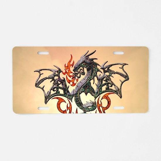 Wonderful dragon, tribal design Aluminum License P