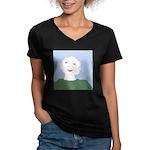 Blue Eyes Women's V-Neck Dark T-Shirt