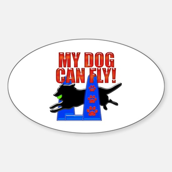 My Dog Can Fly Sticker (Oval)