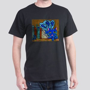 Fairy Cat on Book Shelf Dark T-Shirt