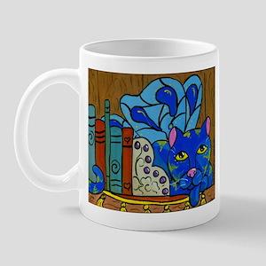 Fairy Cat on Book Shelf Mug