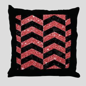 CHEVRON2 BLACK MARBLE & RED GLITTER Throw Pillow