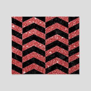 CHEVRON2 BLACK MARBLE & RED GLITTER Throw Blanket